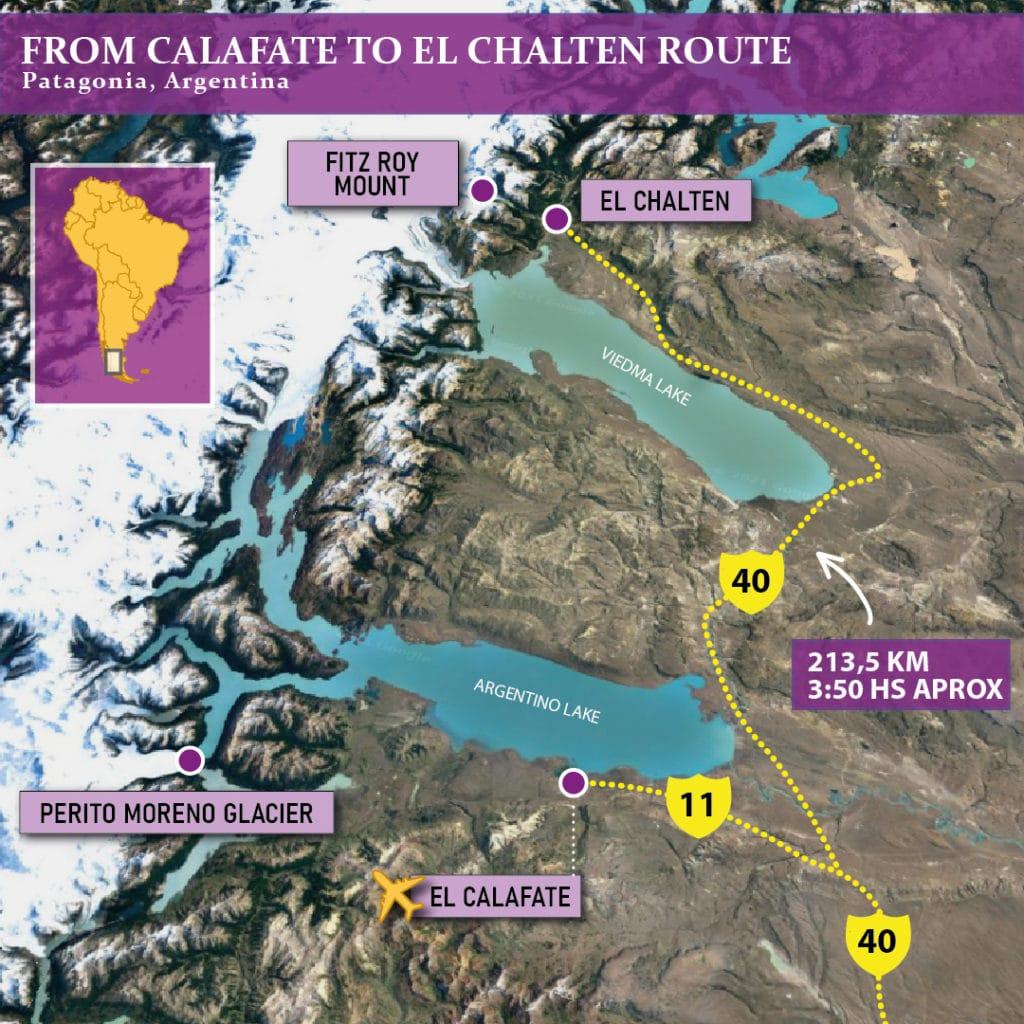 EL CALAFATE TO EL CHALTEN MAP