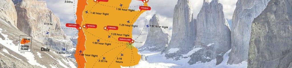 Destinatinos in Chile and flight times - RipioTurismo DMC for Chile
