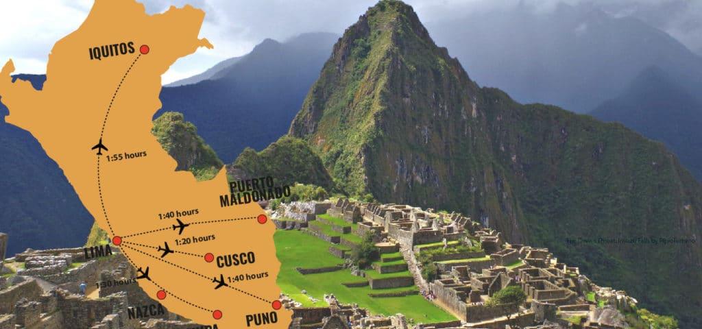 Check flight times between destinations in Peru: Lima, Cusco, Puno, Puerto Maldonado, Iquitos, and more. RipioTurismo DMC for Peru and South America