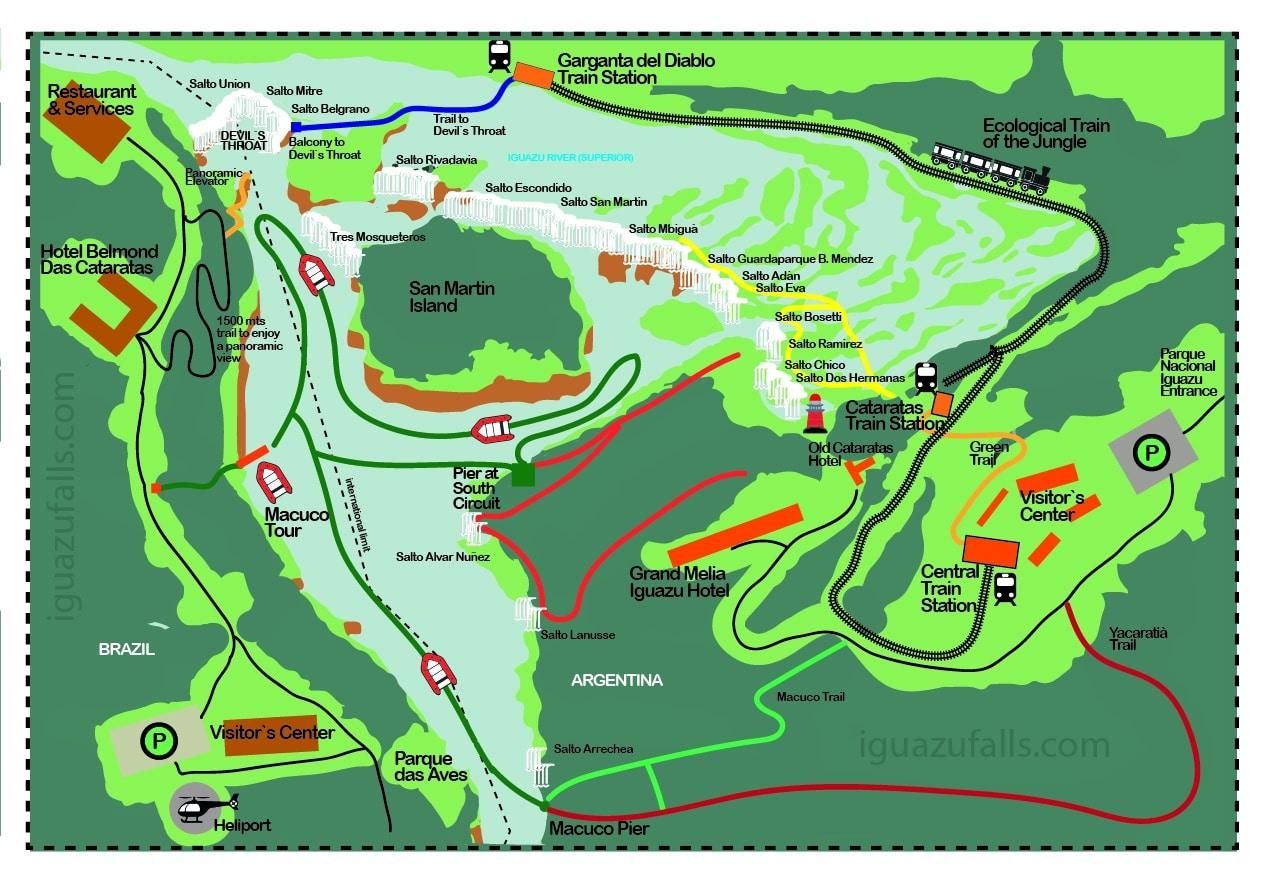 Iguazu Falls Map - RipioTurismo DMC for Argentina and Brazil
