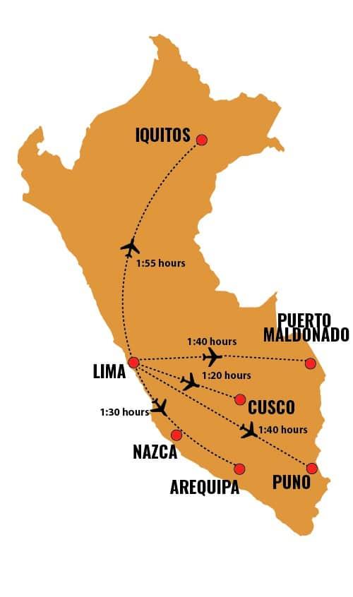 approximated flight times between main destinations in Peru, RipioTurismo Incoming Tour Operator Peru