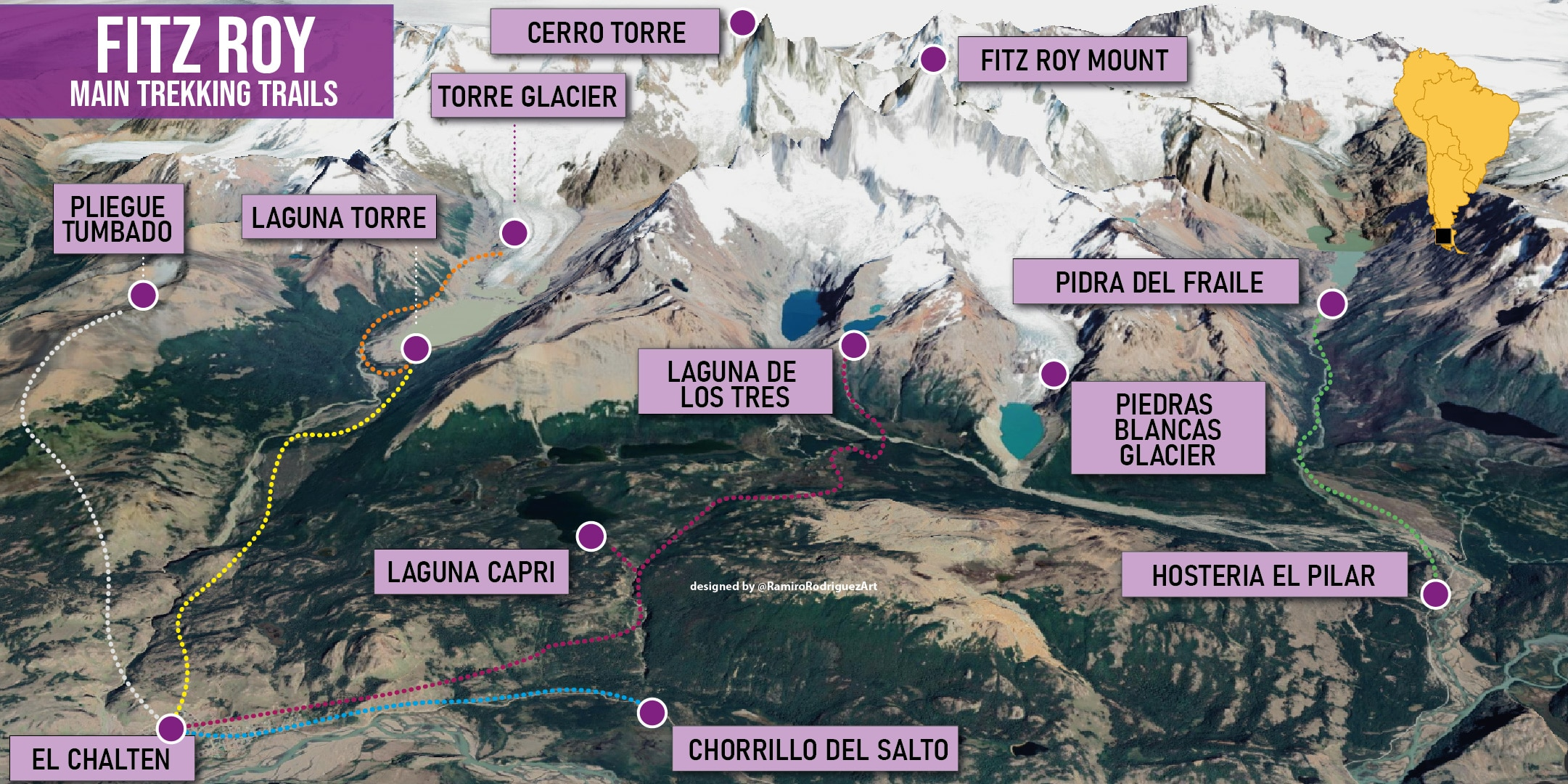 el chalten trekking trails to the Fitz Roy - Trekking trails map