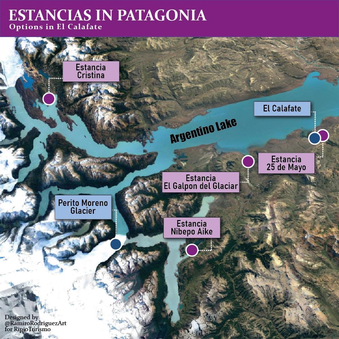 Estancias in Patagonia. Estancias in El Calafate: 25 de Mayo, Nibepo Aike, Estancia Cristina, El Galpon