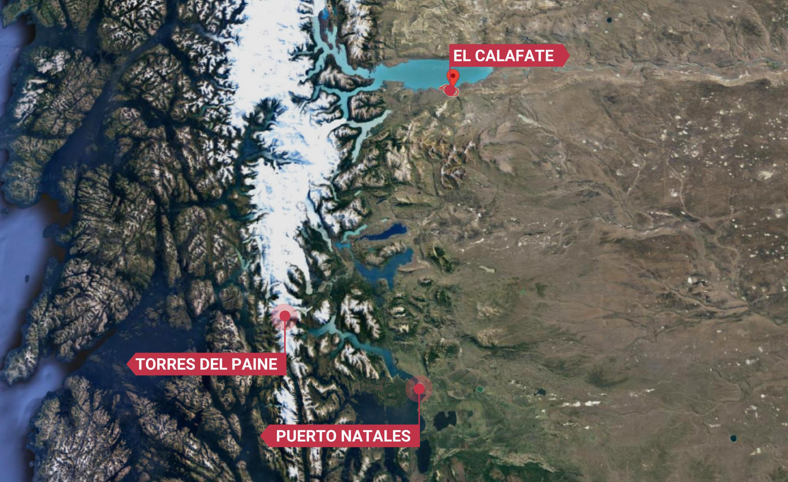 EL CALAFATE TO TORRES DEL PAINE MAP-01