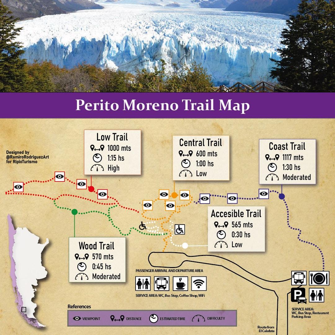 perito moreno trails map