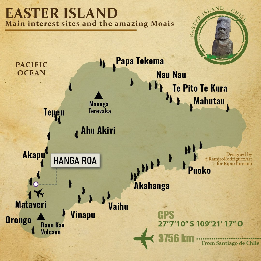 Easter Island Map. Location of main moais and areas of the Rapa Nui