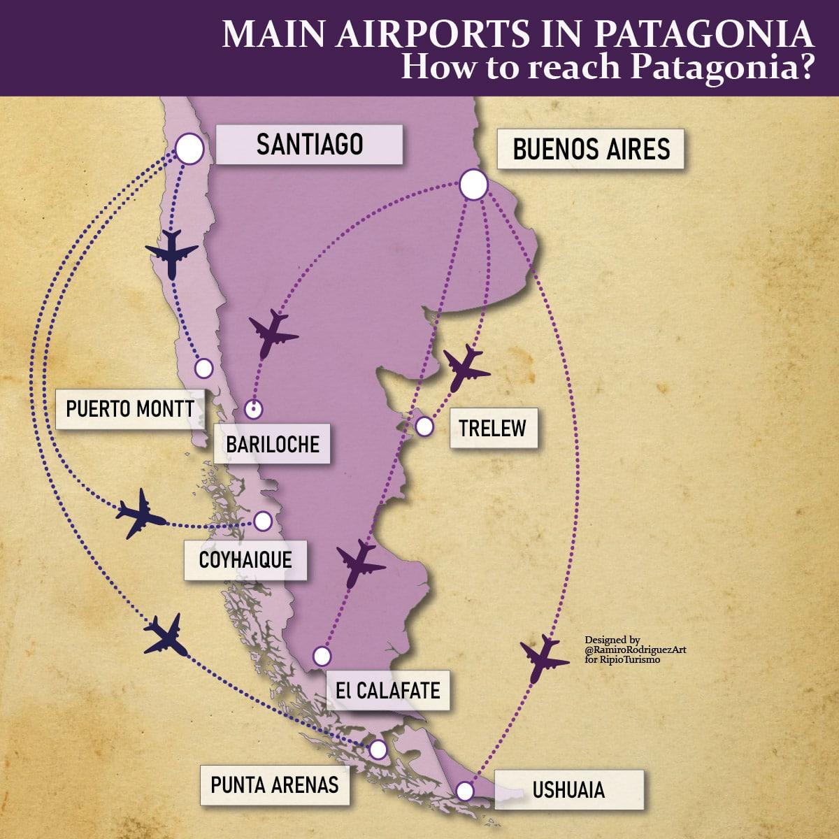 Patagonia Map: Main airports in Patagonia. How to reach Patagonia?