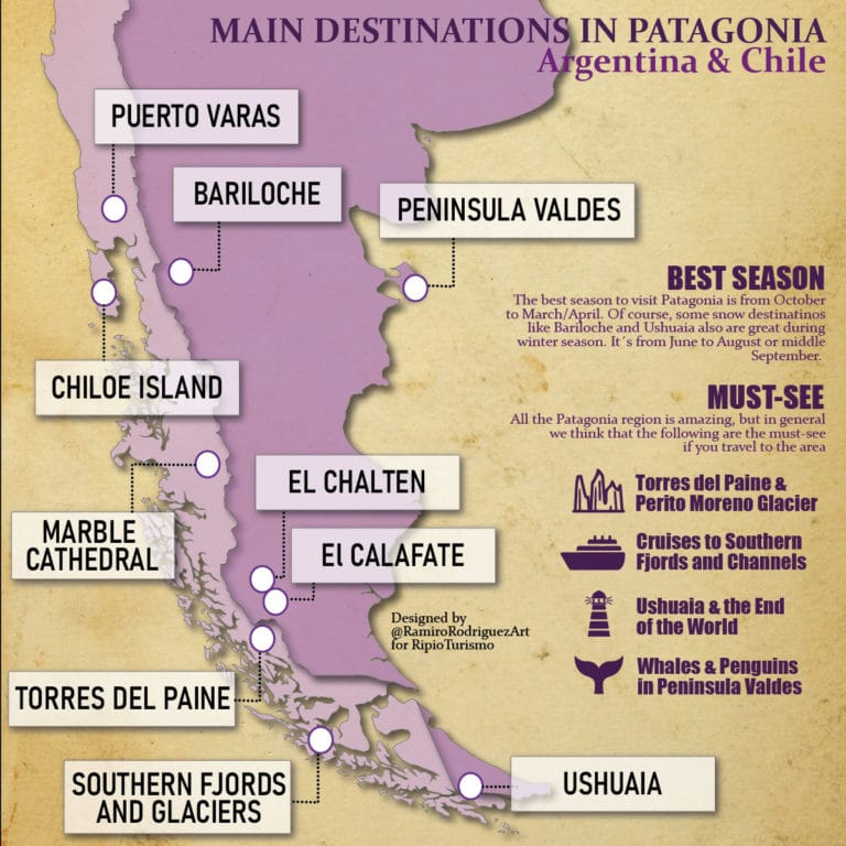map attractives and main destinations in patagonia