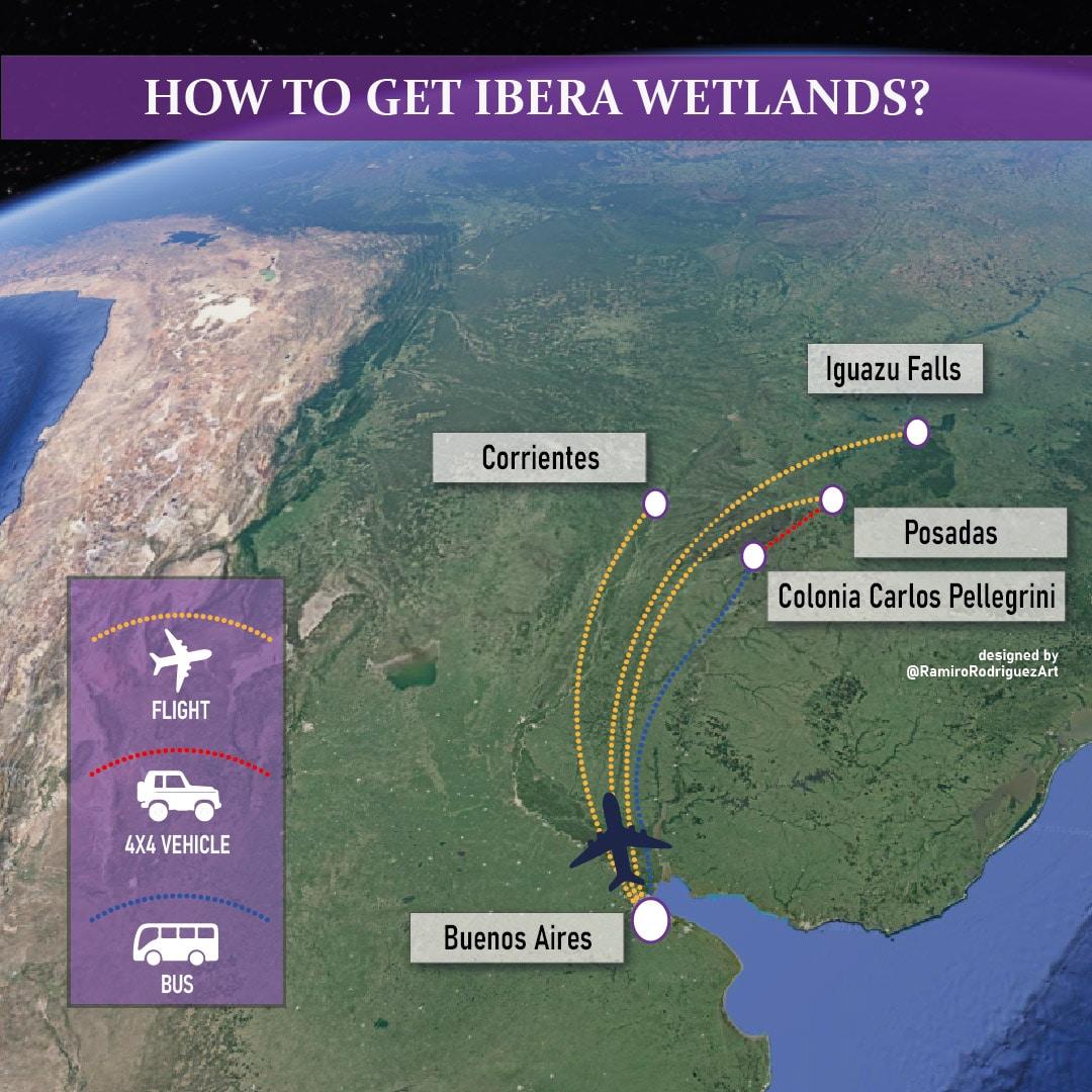 MAP HOW TO GET IBERA WETLANDS_