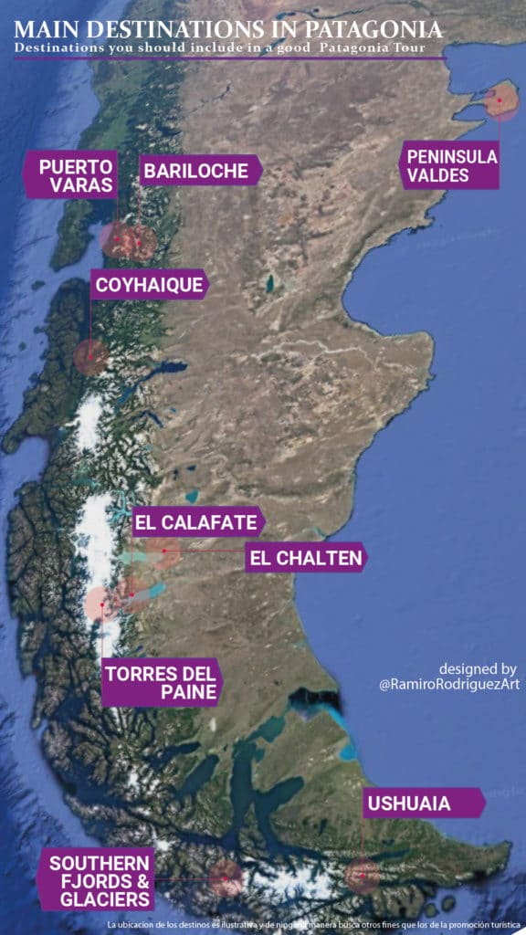 Patagonia, main locations in Patagonia, Argentina and Chile - map