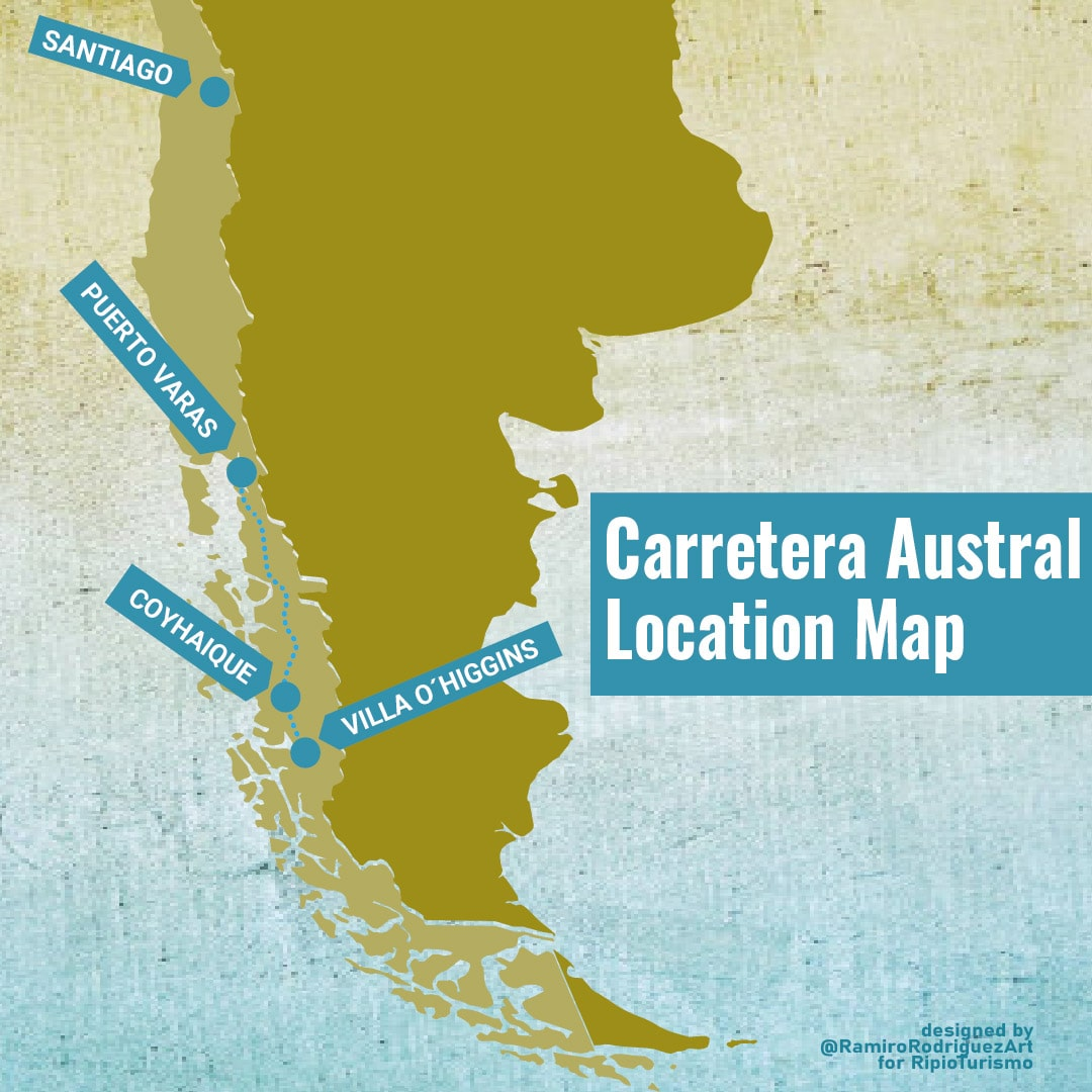 carretera austral map - Aysen, Patagonia, Argentina