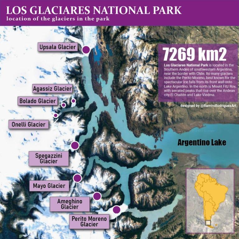 glaciers in los glaciares national park map