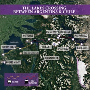 lakes crossing Bariloche to Puerto Varas - map