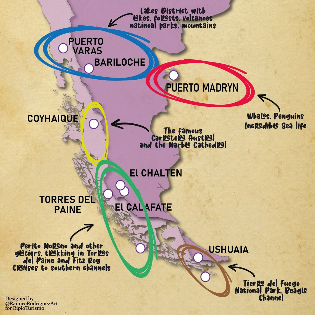 patagonia map where to go