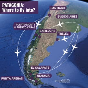 patagonia where to fly into map_