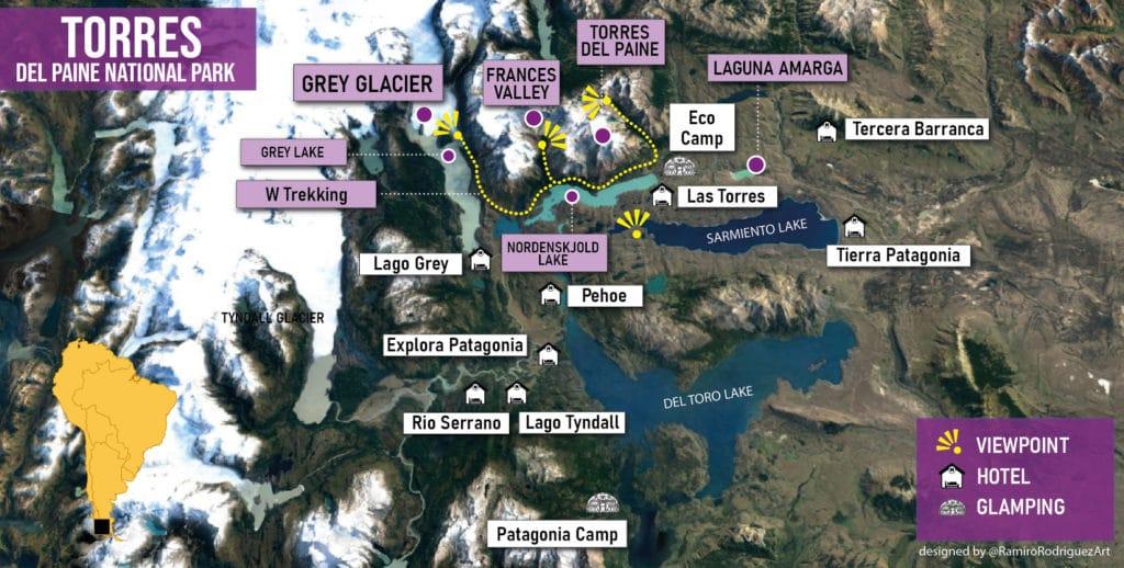 torres del paine national park general map